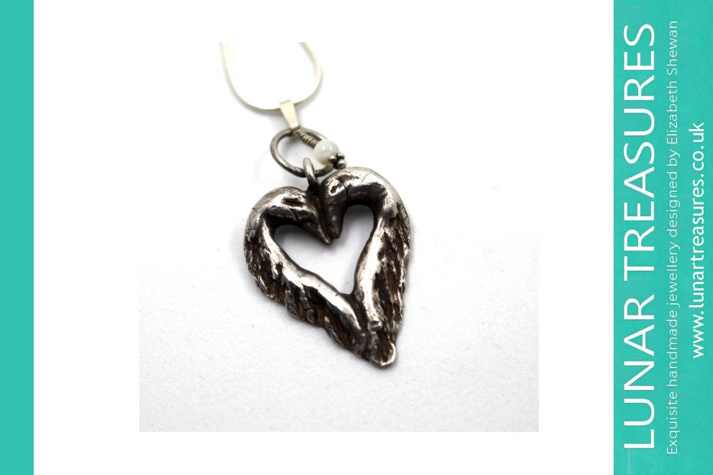 Swans Kissing Love Handmade Silver Jewellery © Elizabeth Shewan Lunar Treasures 2017