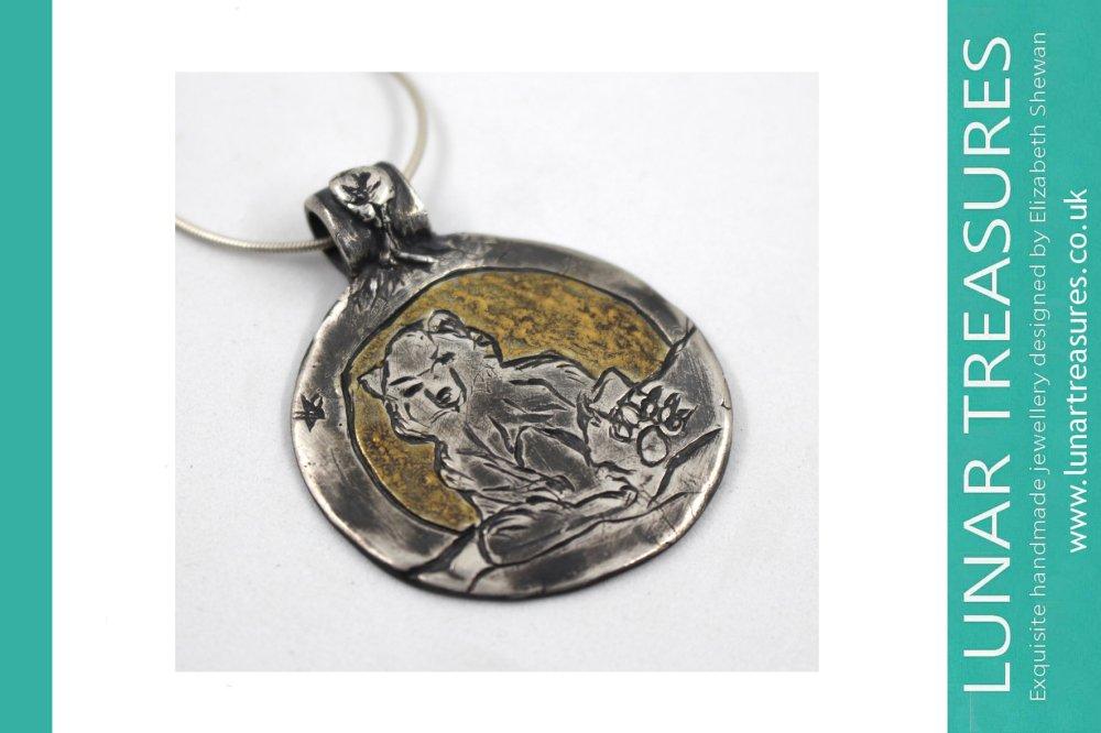 Bear Pendant Silver Handmade Jewellery studio © Elizabeth Shewan Lunar Treasures 2017