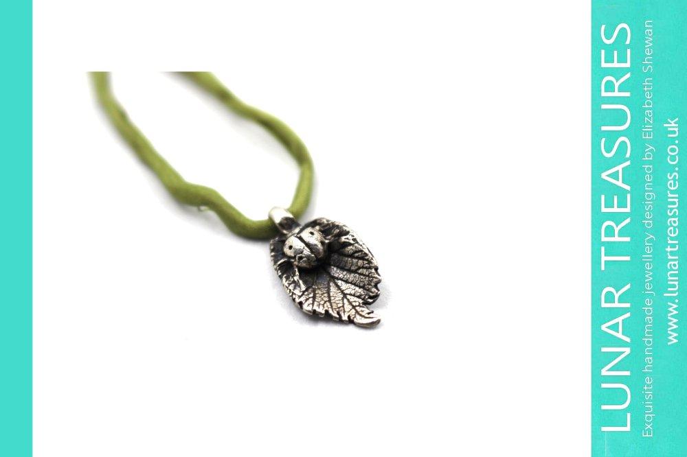 Ladybug Leaf Pendant Silver Handmade Jewellery © Elizabeth Shewan Lunar Treasures 2017