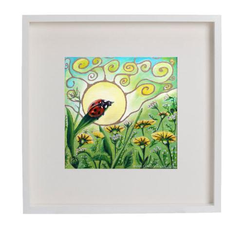 Nature Speaks, Listen Wisdom Series Ladybug © Liz Shewan 2018 framed